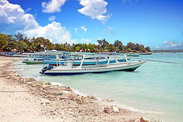 Traditionele vissersboten op  Gili Meno  eiland in Indonesië van Nisangha Masselink