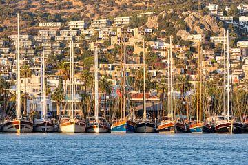 Gulet zeilboten tijdens zonsondergang in de haven van Bodrum in Turkije van Michiel Ton