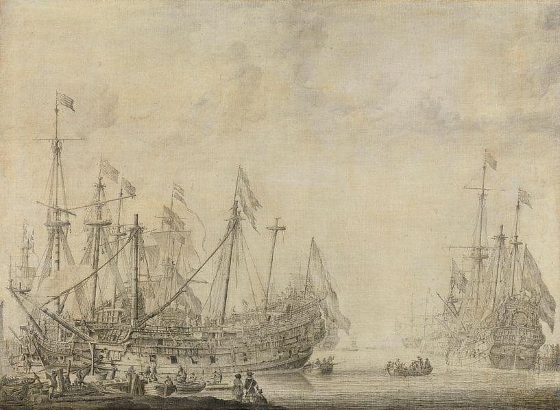 Navires après la bataille, Willem van de Velde sur Diverse Meesters