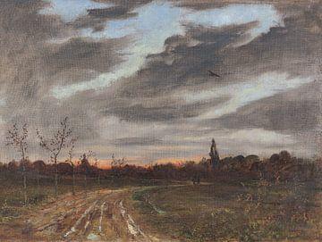 Abendstimmung nach dem Regen am Weg nach Niedergrunstedt, PAUL BAUM, 1884 von Atelier Liesjes