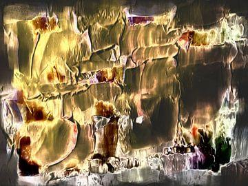 Abstract in geel bruine tinten