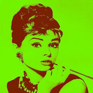 Audrey Hepburn - Vibes van Kathleen Artist Fine Art