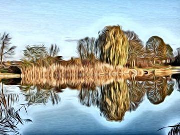 digitale kunst bomen reflectie in het water  van Joke te Grotenhuis