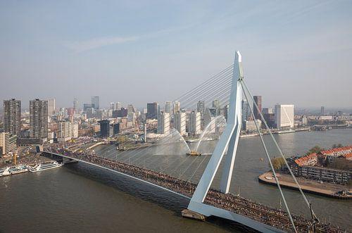 De start van de Marathon aan de voet van de Erasmusbrug in Rotterdam