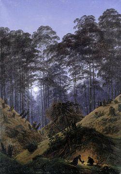 Intérieur de la forêt par Moonlight, Caspar David Friedrich sur