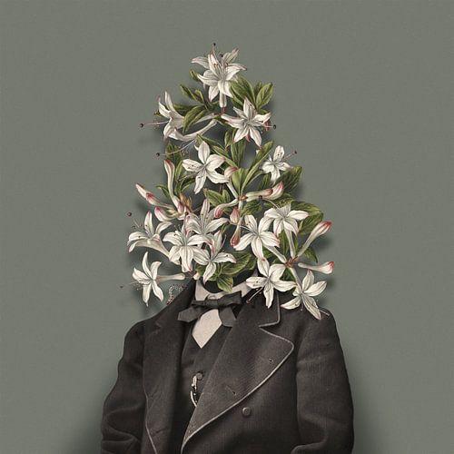 Zelfportret met bloemen en rups (groengrijze achtergrond) sur toon joosen
