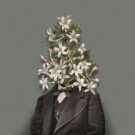 Zelfportret met bloemen en rups (groengrijze achtergrond)