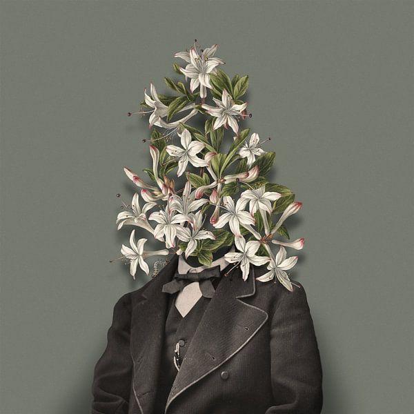 Zelfportret met bloemen en rups (groengrijze achtergrond) van toon joosen