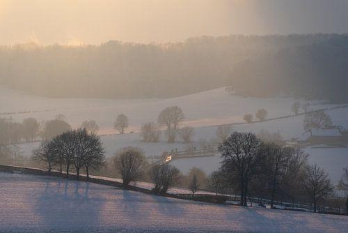 Winterlandschap met sneeuw: Limburgse heuvels en bossen