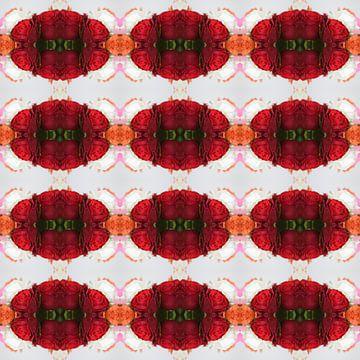 Fotografisch patroon met Rode en Oranje Rozen van Ton Kuijpers