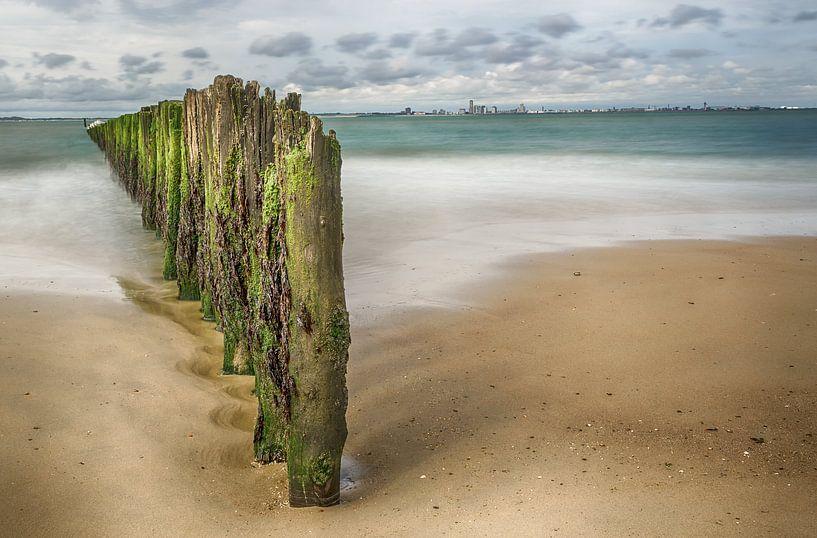 Strand met palen van Mark Bolijn