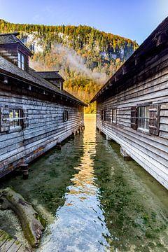 Bootshäuser am Königssee von Dirk Rüter