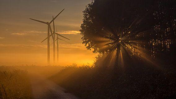 Zonsopkomst op een mistige oktober ochtend van Bram van Broekhoven