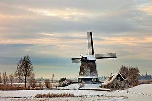 Molen De Havik in winterlandschap