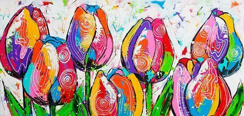 Tulpen op een rij van Vrolijk Schilderij