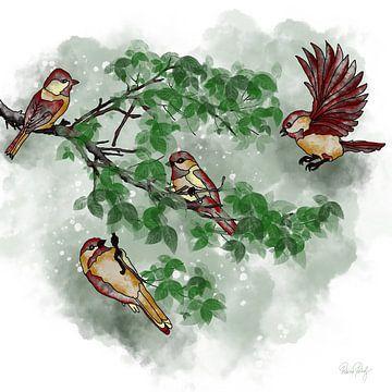 Vogels op de boomtak - herfstfoto van Patricia Piotrak