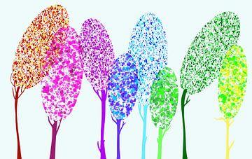 Moderne Kunst - Bunte Bäume