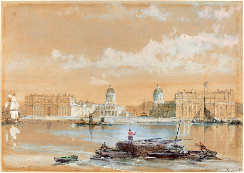 The Naval College from the River at Greenwich, David Roberts van Liszt Collection