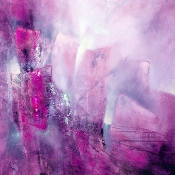 Abstracte compositie: roze, roze en een vleugje munt van Annette Schmucker