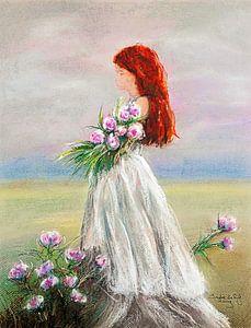 Blumen pflücken an einem schönen Sommertag. von Ineke de Rijk