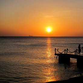 Zonsondergang Curacao van Carolina Vergoossen
