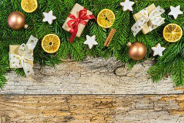Kerstmis vakantie achtergrond decoratie met kopieerruimte van Alex Winter