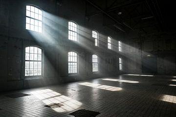 Sonnenlicht scheint durch die Fenster eines alten, verlassenen Industriegebäudes von Edsard Keuning