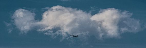 """""""Up in the sky"""" wolk met vliegtuig er onder van Harrie Muis"""