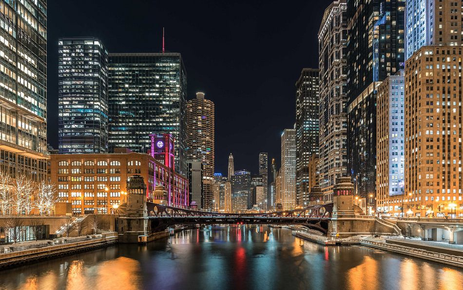 Chicago Skyline van Kees Jan Lok