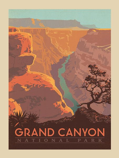 Oude poster van Grand Canyon