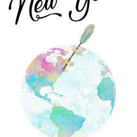New York auf dem Globus van Green Nest