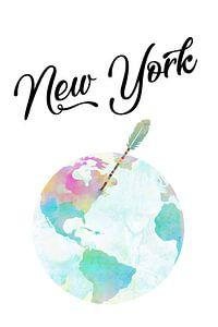 New York auf dem Globus