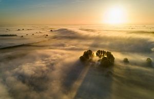 Huisje drijft op de mist