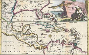 Oude kaart Golf van Mexico en Midden Amerika