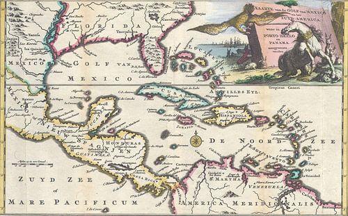 Oude kaart Golf van Mexico en Midden Amerika van Het Archief