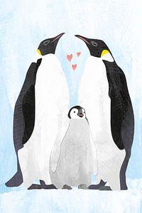 Pinguïns met baby pinguïn van