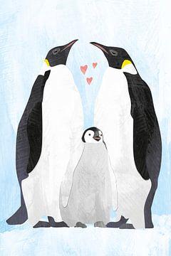 Pinguine mit Baby-Pinguin von Karin van der Vegt