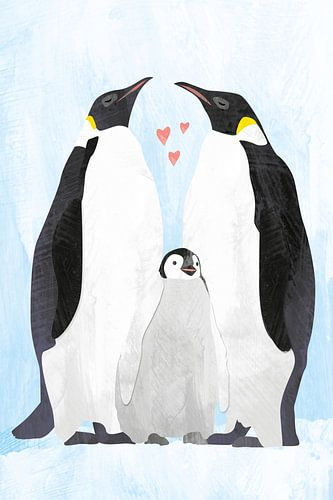 Pinguïns met baby pinguïn van Karin van der Vegt