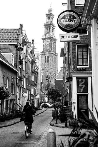 Westertoren / Cafe de Reiger Zwart-Wit van PIX URBAN PHOTOGRAPHY