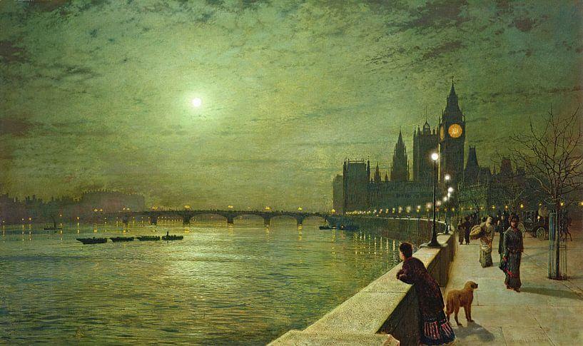 Reflections on the Thames, Westminster, John Atkinson Grimshaw von Meesterlijcke Meesters