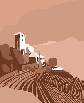 Chateau in Tirol en couleurs sépia sur Lida Bruinen