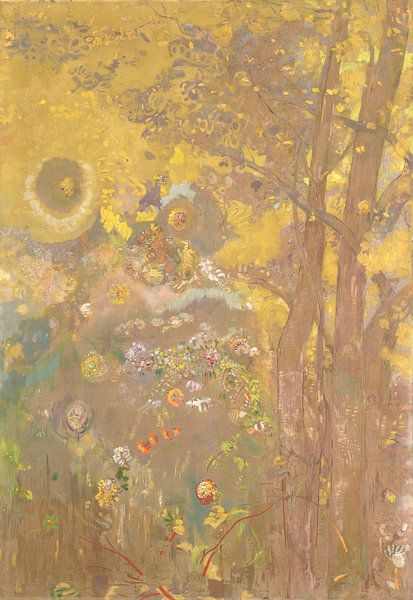 Trees on a yellow Background, Odilon Redon von Meesterlijcke Meesters