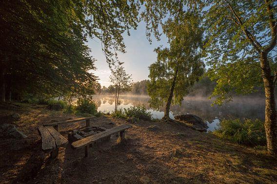 Zonsopkomst in Zweden met gedoofd kampvuur