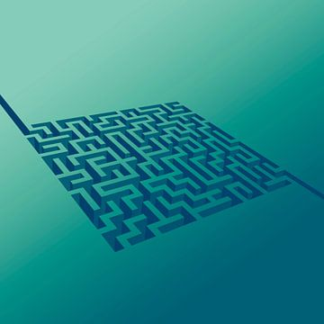 Labyrint doolhof met begin en einde van Mike Maes