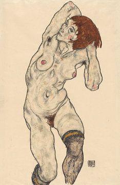 Nackt in schwarzen Strümpfen, Egon Schiele - 1917