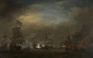 VOC Zeeslag schilderij: Cornelis Tromp op het schip de 'Gouden Leeuw'