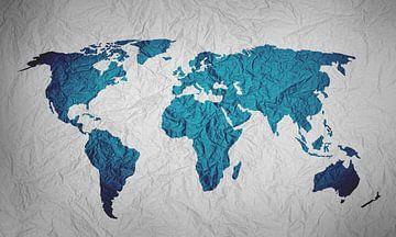 Blauwe Wereldkaart op Papier van World Maps
