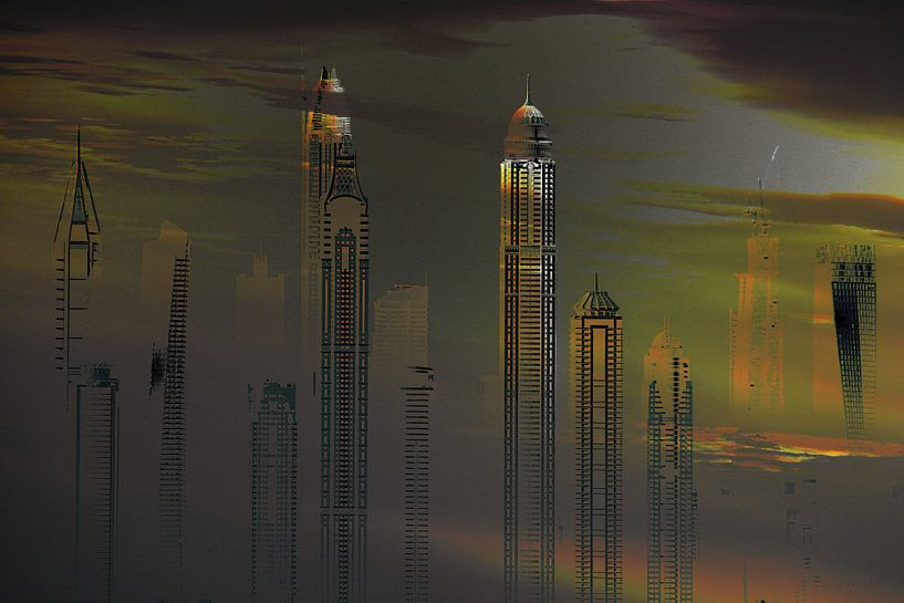 13, City-art, dubai, skyline. van Alies werk