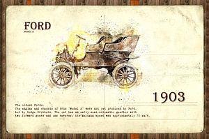 retro cars postcard collage illustration