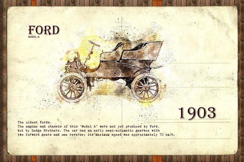 retro cars postcard collage illustration von Ariadna de Raadt
